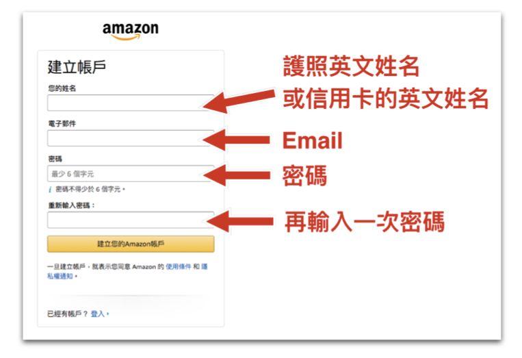 amazon_帳戶資料輸入