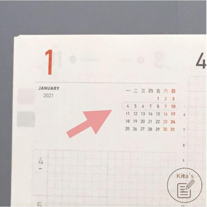 2021年手帳開箱 手帳內頁 週計畫-迷你月曆