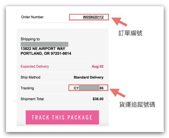 【購物實測】victoria's secret 維多利亞的秘密- 出貨通知信顯示貨運追蹤號碼