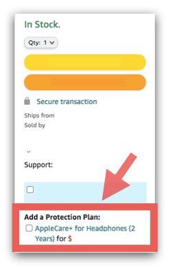 在 Amazon 選購AirPods Pro,可加購Applecare