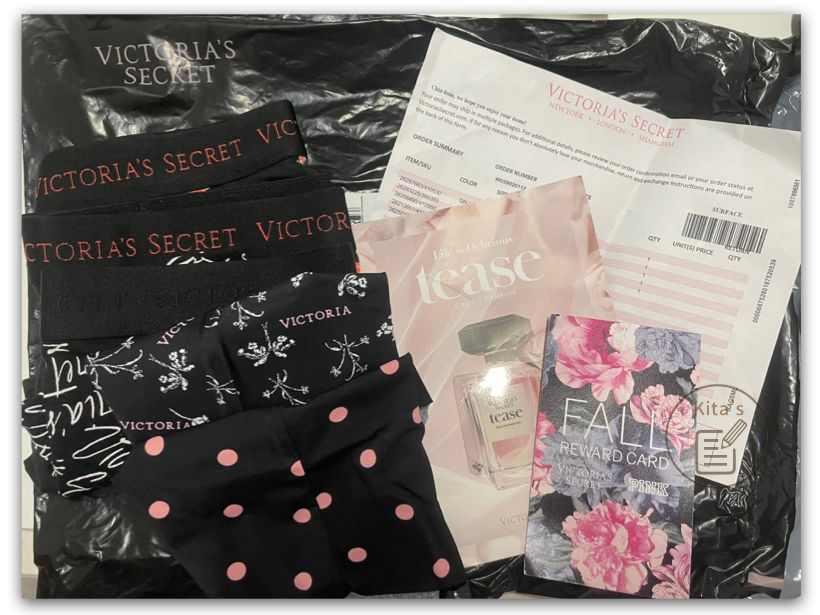 【購物實測】victoria's secret 維多利亞的秘密-購買的商品之外,附有香水試香卡、折扣卡、出貨單